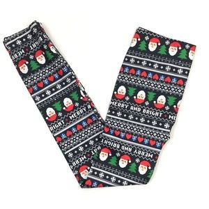 Christmas Santa Merry and Bright Ankle Leggings M